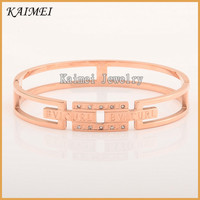 Latest Design Daily Wear Jewelry Best Selling Brand Rose Gold Plated Charm Artificial Crystal Bangle
