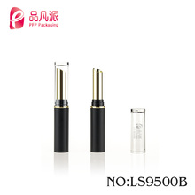 Classic simple small inclined mouth plastic round slim lipstick tube with transparent cover lipstick container