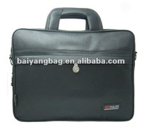 Black PU leather 14'' portable and messenger men's business bag