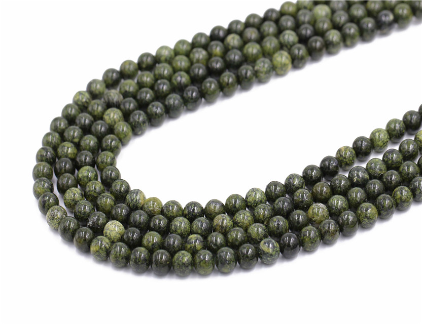 Cheapest round natural stone russia jade stone beads strand for jewelry making with high quality