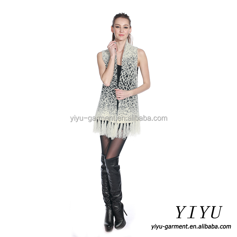 Latest sayle fringed tie dye sleeveless women cable knitted sweater winter vest
