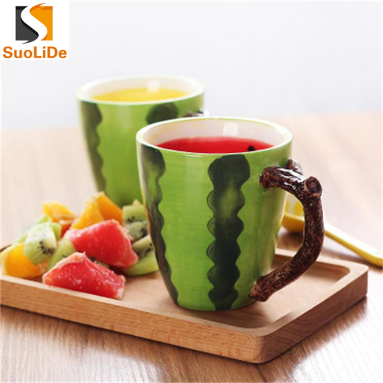 2017 new design watermelon ceramic tea drinking cup cute personalize funny mugs
