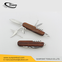 Promotional Mult folding pocket knife wooden handle stainless steel multi knife