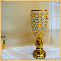 Brilliant ceramic flower gold onyx vase insert jewel and diamond home decoration
