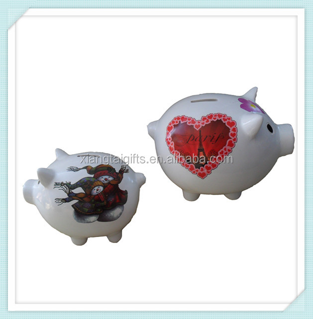 White ceramic pig collection atm piggy bank