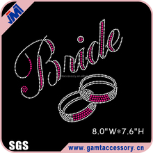 Bling Bride motif hot fix rhinestone transfer for dresses