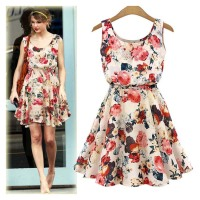 2015 Fashion Women New Desigual Apricot Sleeveless Round Neck Florals Print Pleated casual Dress Saias Femininas Summer Clothing