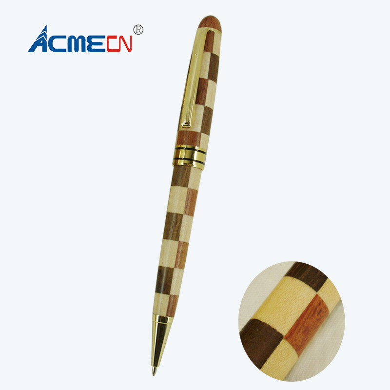 ACMECN Cool Design Writing Instrument Ball Pen Hand-made Natural Eco-friendly Maple & Rosewood Patchwork Wooden Ballpoint Pen