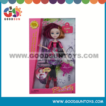 11'' Fashion bendable Plastic Girl Dolls With Vivid Face Flexible Joint