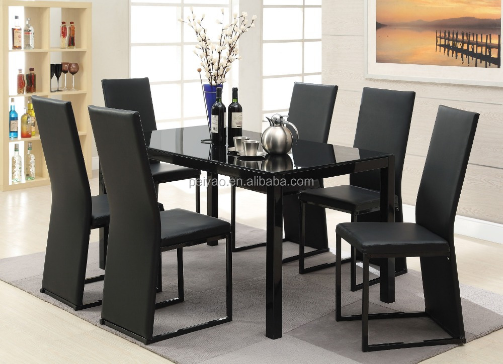 modern black glass restaurant dining table with 6 chairs