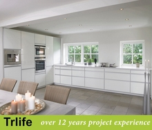 Trlife white lacquer modular kitchen cabinet design by professional project supplier