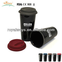 plastic 16oz double wall insulated coffee cup with silicone lid