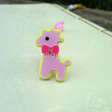 New fashion pink acrylic deer animal shaped hair rubber bands wholesale girls plastic elastic hair ties