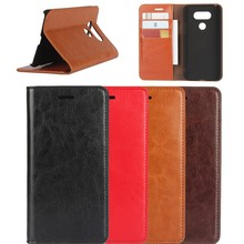 crazy horse genuine Leather Case for LG G5 with cards slots , For LG G5 wallet case