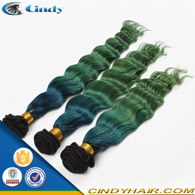 7A grade no tangle loose wave color black blue green cheap sew in human bundles virgin hair brazilian ombre hair weaves