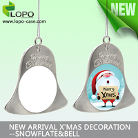 Hot sale!!!Sublimation xmas blank gold color bell shape ornament with aluminum sheet