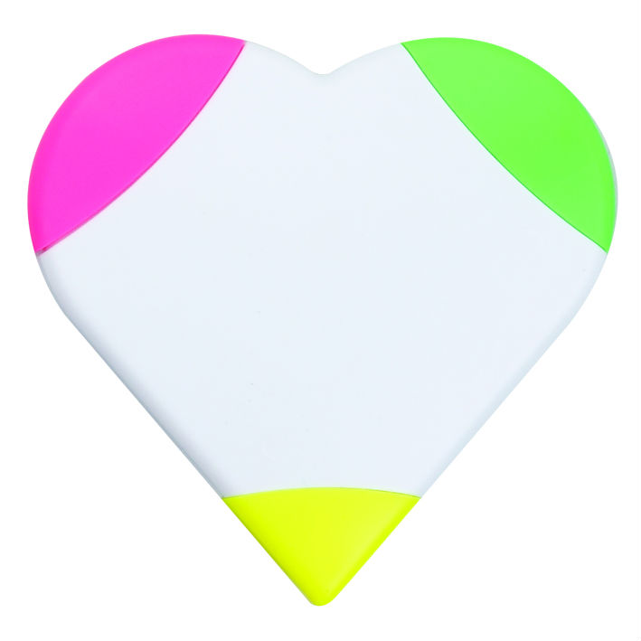 3 in 1 fluorescent heart shaped beautiful love highlighter promotional gift/fancy 3in1 highlighter/multi colored highlighter pen
