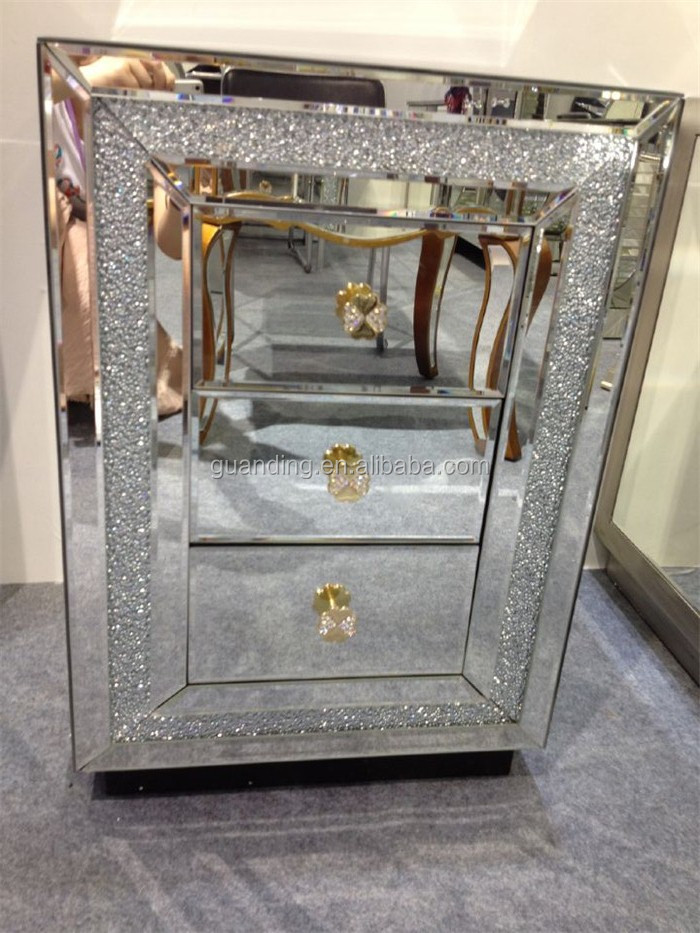 Bedroom furniture handmade mirrored nightstand/mirrored bedside table with crystal frame