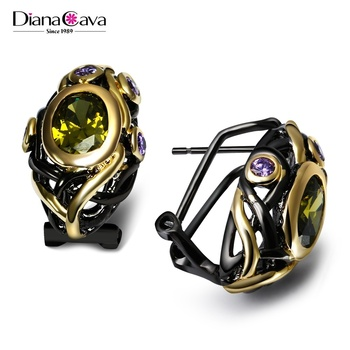 Top Fashion Accessory Wholesale Black and Gold Plated Purple Olivine CZ Stones Stud Earrings