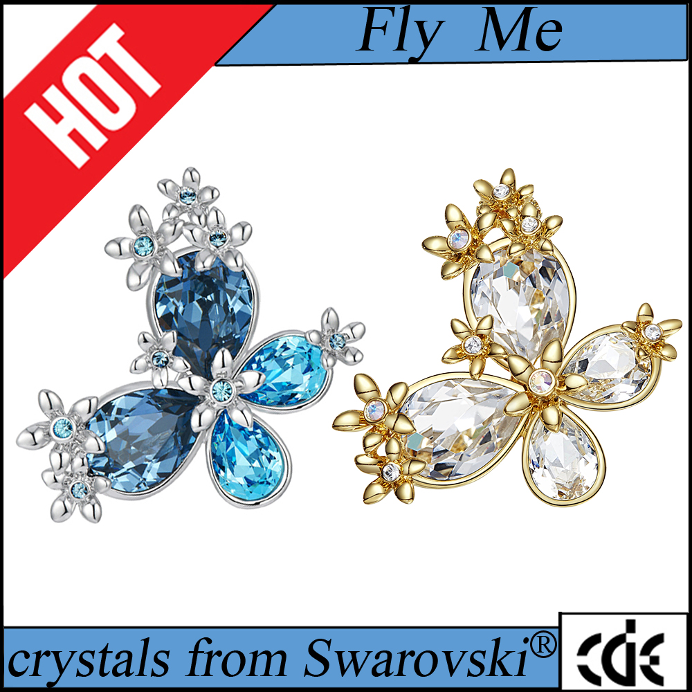 ODM OEM crystals from Swarovski jewelry manufacturer custom fashion start design blue white purple brooch