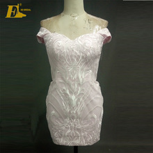 Real Pictures Short Sheath Pink Wedding Dress With Detachable Train