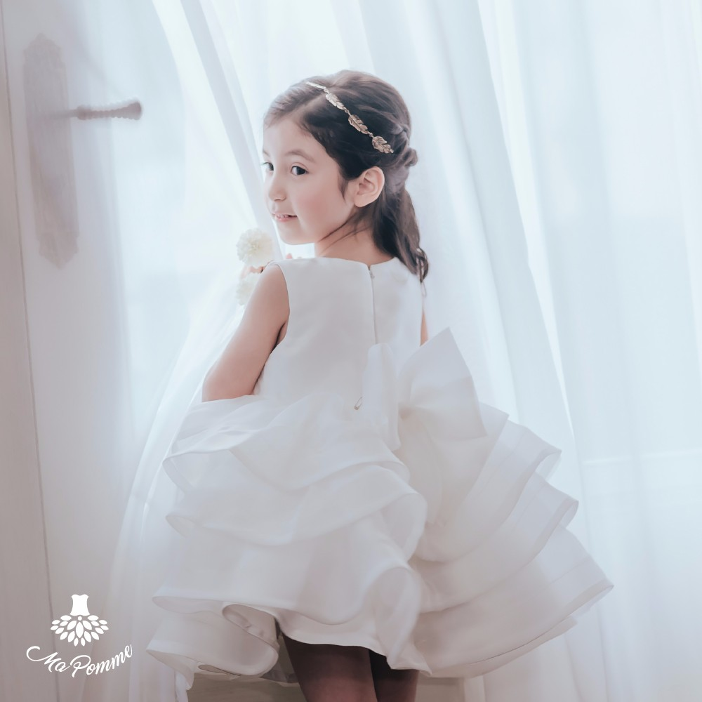 Modern Design Elegant Pure Color Baby Frock Style Dress