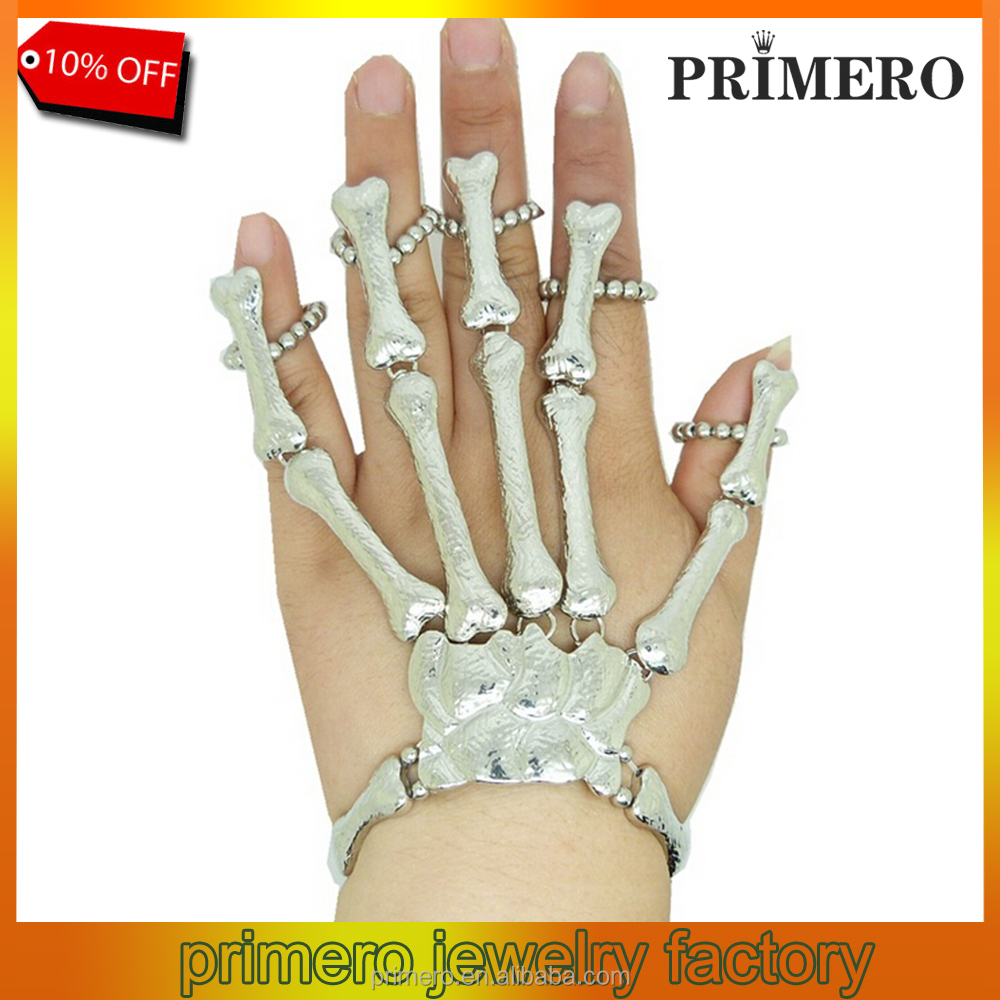 PRIMERO Coolest Unique Fashion Style Halloween Hand Skull Skeleton Elastic Fingers Bracelet Bangle Party Weapon Slave Bracelets