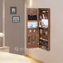 Modern Living Room Furniture Wooden Brown Cheap Hanging Mirrored Jewelry Cabinet