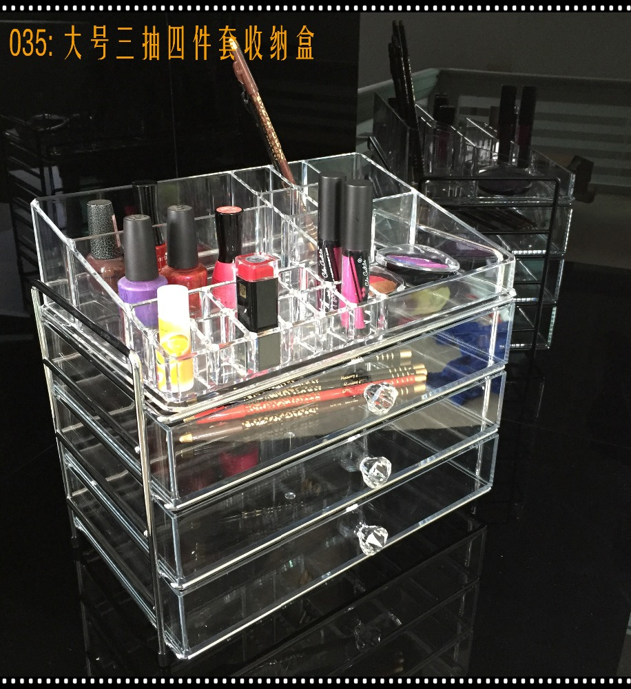 yiwu <strong>acrylic</strong> factory 4 layers <strong>acrylic</strong> makeup display case with 3 drawer and metal frame
