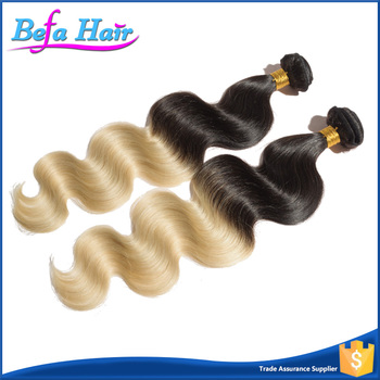 Top quality 100% body wave human virgin brazilian ombre weave hair