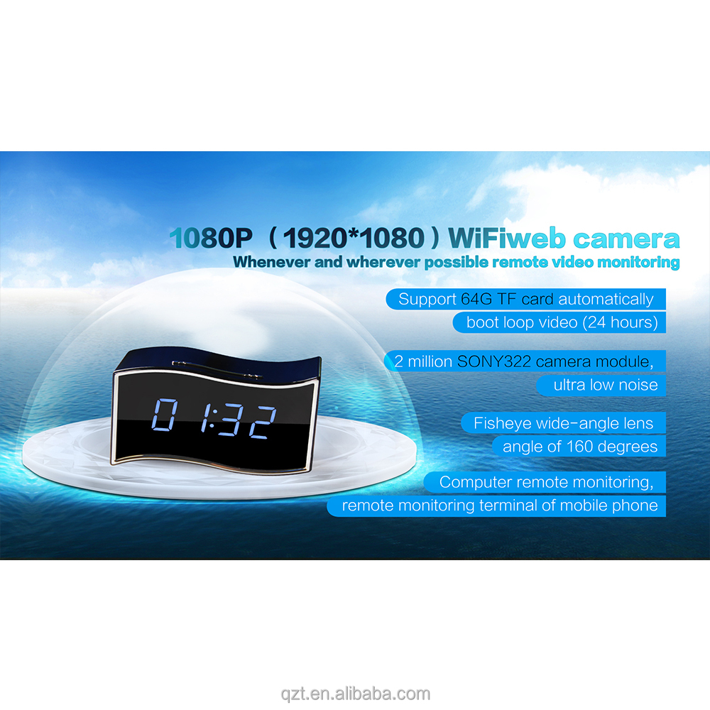Hot Sale HD CLOCK Camera WIFI Spy Hidden <strong>1080P</strong> Video Camera