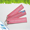 Embroidery fabric logo key chain, remove before flight key ring, wholesale travel plane keyring
