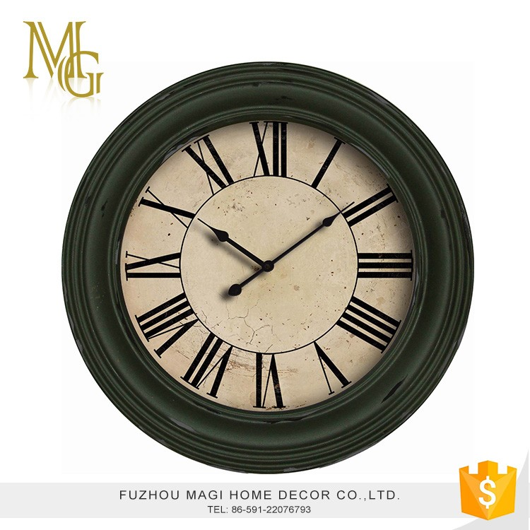High quality retro aged antique metal and wood round house clock