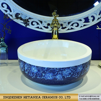 Concise beauty hand wash basin pictures blue color jingdezhen made