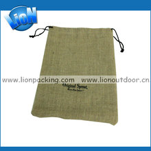 Custom made recyclable rice high density jute bag pulling string