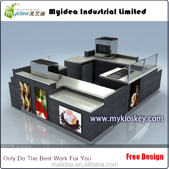 Modern wooden coffee kiosk design for shopping mall coffee booth