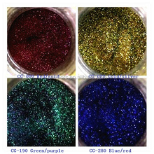 Solvent resistant color changing glitter for nail art