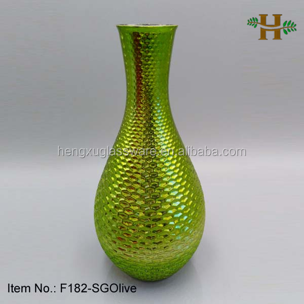 Olive or Green Color Mercury Glass Wedding Vase