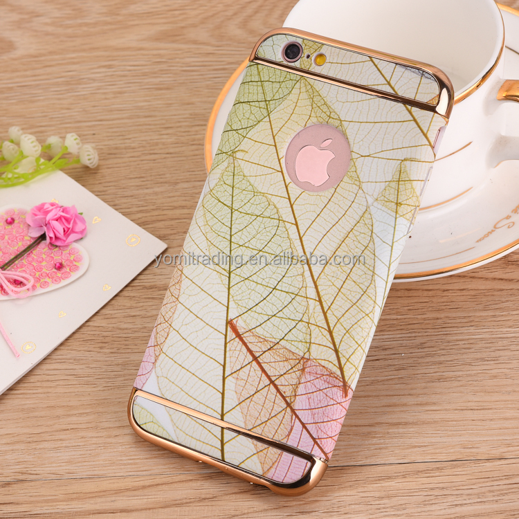 top quality 3 in1electroplating flower pattern case for Iphone 7