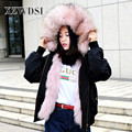 CX-G-P-19E Wholesale Raccoon Fur Collar Pink Warm Hood Real Fur Parka