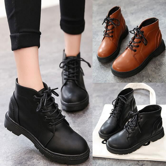 Ladies Work Platform Ankle Boots for Women Flat Thick Heel Military Boot shoes