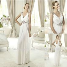 Modern V Neckline Pleated Crystal Decorations Draped Sheath Wedding Dress Bridal Gown