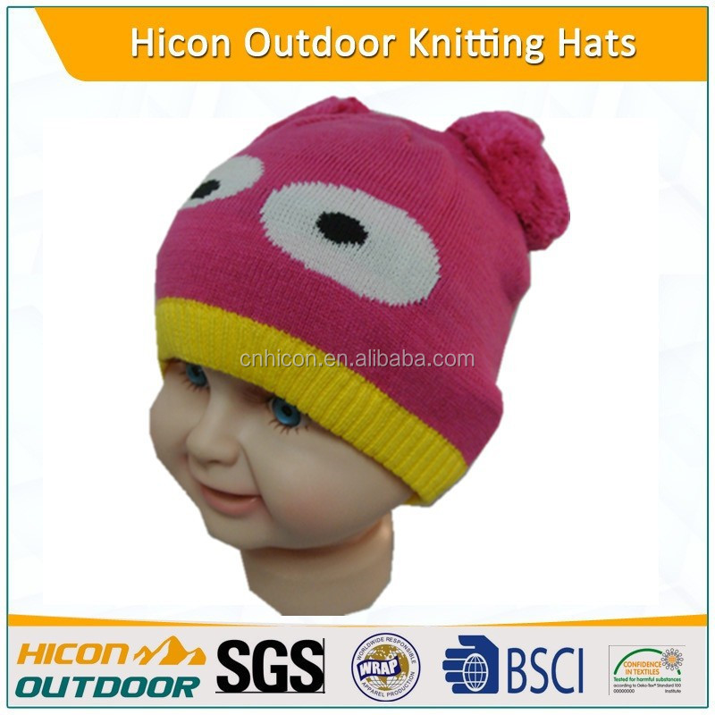 Kids' knitted winter hats with two balls on top