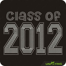 Crystal Class of 2012 Iron on Rhinestone Letter Design
