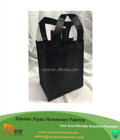 Reusable 2 Bottle Black Non Woven Wine bag Tote Gift Bag