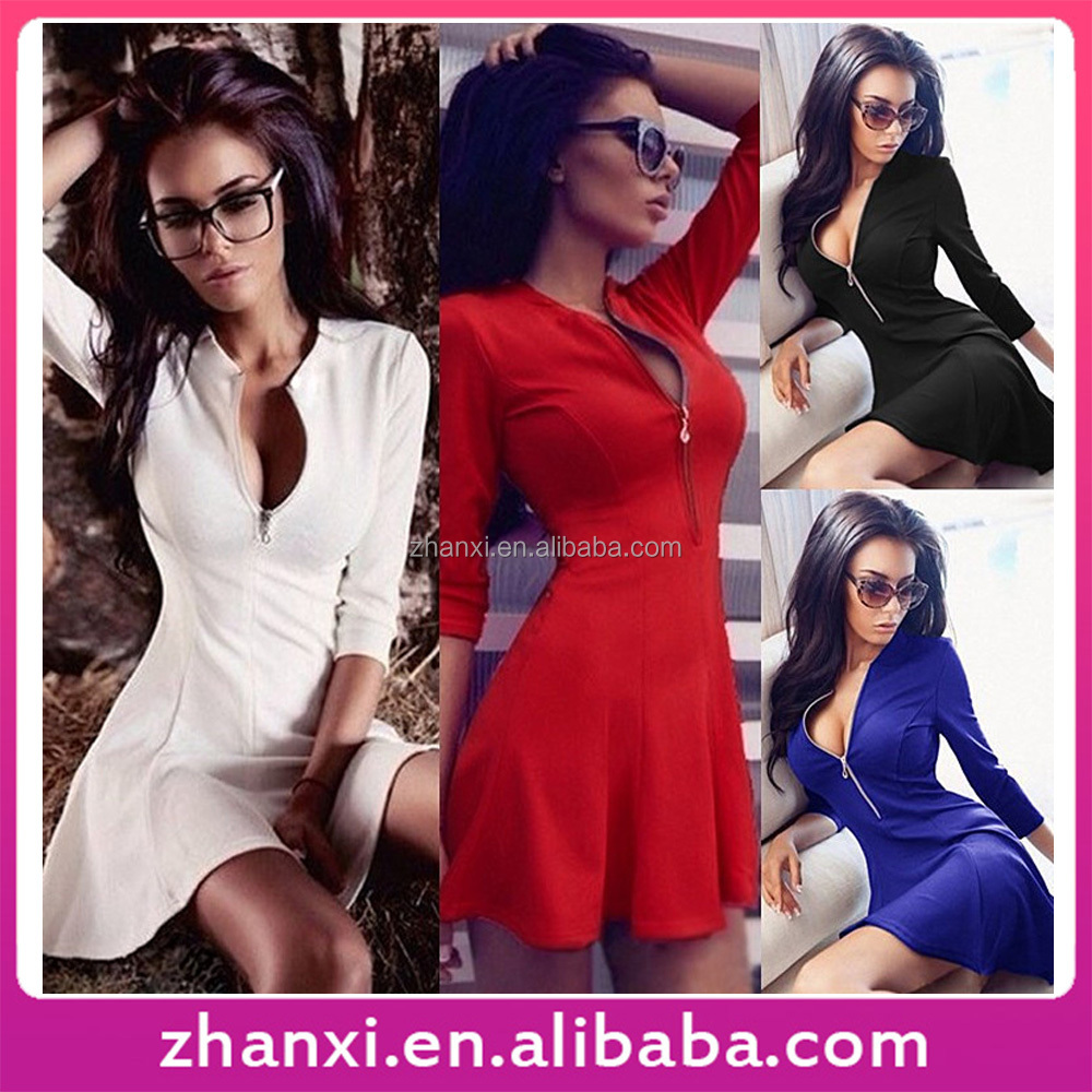 3/4 sleeve zipper women fashion slim fit girls black frock white cheap red short dress