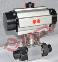 ss304 weld high pressure 3 way ball valve with air filter relief pressure valve