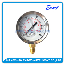 Normal use liquid filled mechanical bourdon tube , low ss pressure gauge for pressure measuring