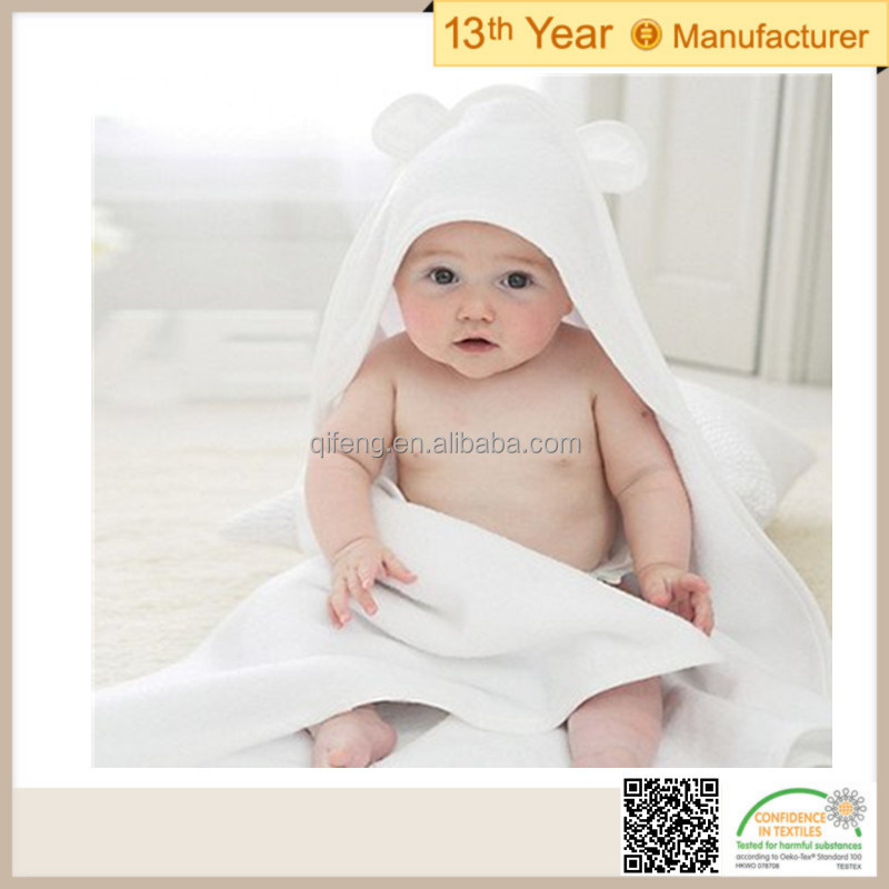Best selling china manufacturers blue cotton embroidery Baby Cute Hooded Bath Towel