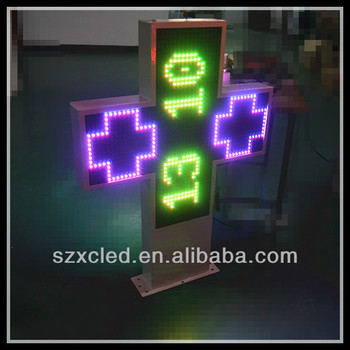 3D animatons RGB full color RF wireless communication P16-80x80cm two sides pharmacy led cross sign